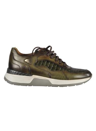 Luciano Bellini yuvarlak burun dikiş detaylı bağcıklı deri desenli erkek ayakkabı Yeşil